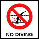 NO DIVING with International Symbol - Smooth Ceramic Marker, Factory Skid-Resistant and Frost Resistant - WATERLINE
