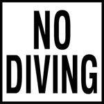NO DIVING - 2 inch letters - Smooth Ceramic Depth Markers, Factory Skid-Resistant and Frost Resistant - WATERLINE