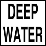DEEP WATER - 2 inch letters - Smooth Ceramic Depth Markers, Factory Skid-Resistant and Frost Resistant - WATERLINE