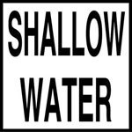 SHALLOW WATER - 2 inch letters - Smooth Ceramic Depth Markers, Factory Skid-Resistant and Frost Resistant - WATERLINE