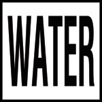 WATER - 4 inch letters - Smooth Ceramic Depth Markers, Factory Skid-Resistant and Frost Resistant - WATERLINE