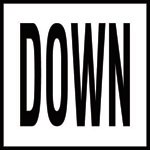 DOWN - 4 Inch Letters - Smooth Ceramic Depth Markers, Factory Skid-Resistant and Frost Resistant - DECK