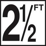 2 1/2 FT - 5 Inch Numbers - Smooth Ceramic Depth Markers, Factory Skid-Resistant and Frost Resistant - DECK