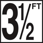3 1/2 FT - 5 Inch Numbers - Smooth Ceramic Depth Markers, Factory Skid-Resistant and Frost Resistant - DECK
